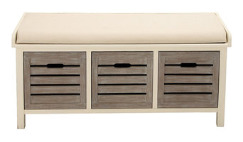 Elegant Wood 3-Drawer Fabric Bench, White and Gray