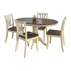 CorLiving Dillon 5 Piece Extendable Wooden Dining Set, Dark Brown/Cream