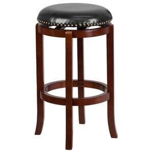Strange 24 Inch High Backless Light Cherry Wood Counter Height Stool Evergreenethics Interior Chair Design Evergreenethicsorg