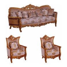 European Furniture - Modigliani III 3 Piece Luxury Living Room Set In Ikat And G