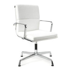 Modern Selections Director Soft Pad Office Chair With No Wheels White Chairs