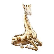 Ahura Large Kneeling Giraffe Ceramic Figure, Gold