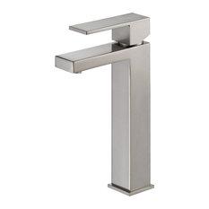 """Waterloo Contemporary 6"""" Single Handle Square Vessel Faucet, Satin Nickel"""
