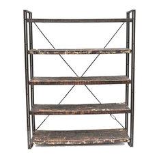Reclaimed Wood And Metal Book Shelf