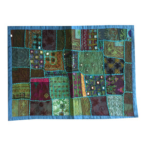 Mogul Interior - Blue Indian Throw Vintage Kutch Embroidered Tapestry Wall Hanging Gift Idea - Tapestries