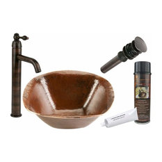 "Premier Copper Products BSP1_PVSQ15 15"" Hand Forged Copper Vessel Sink Package"