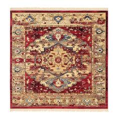 Traditional Regal 8' Square Crimson Area Rug