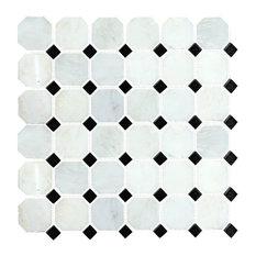 Carrara Octagon Polished Tile, Arabescato, Sample