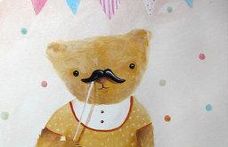 Moustache on a Stick Portrait on Canvas by Inameliart on Etsy