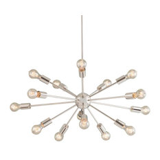No Shade Axion Small 15-Light Chandelier, Polished Chrome, Incandescent