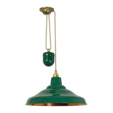 24285c980b8a School Rise-and-Fall Pendant Light, Green and Polished Copper