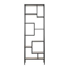 "102"" T Careen Bookcase Smooth Quartz Stone Shelving Black Metal Framework"