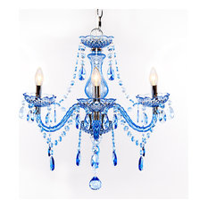 "River of Goods - 17.5"" Jeweled Sapphire 3-Arm Chandelier - Chandeliers"