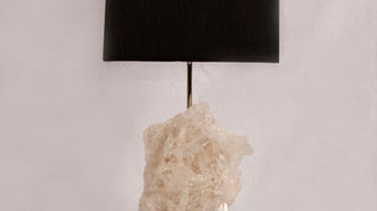 Table lamps made from beautiful and unique crystals and gemstones.