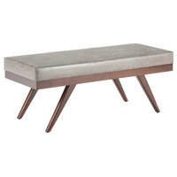 """Chanelle 48"""" W Mid Century Ottoman Bench, Distressed Grey Taupe Faux Leather"""