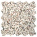 """CNK Tile - 12""""x12"""" Mini Island Mix Pebble Tile - Each pebble is carefully selected and hand-sorted according to color, size and shape in order to ensure the highest quality pebble tile available. The stones are attached to a sturdy mesh backing using non-toxic, environmentally safe glue. Because of the unique pattern in which our tile is created they fit together seamlessly when installed so you can't tell where one tile ends and the next begins!"""