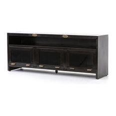 71-inch L Granville 3 Door Media Cabinet Console Iron Mango Wood Antique Vintage