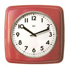 9 5 Square Retro Wall Clock Red Clocks