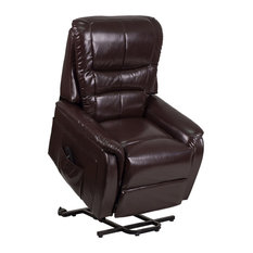 Offex Contemporary Brown LeatherSoft Remote Powered Lift Recliner