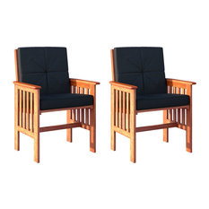 CorLiving Miramar Cinnamon Brown Hardwood Outdoor Armchairs, Set of 2