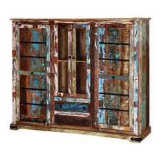 Rustic Frontier Reclaimed Wood Glass Door Display Cabinet