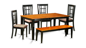 Bryant Dining Table Set With Bench, Black and Cherry, 6 Pieces
