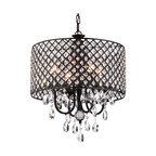 Marya 4-Light Black Metal Round Beaded Drum Chandelier Hanging Crystals Glam