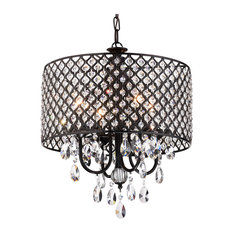 Bestselling black chandeliers for 2018 houzz 1st avenue mariella 4 light crystal drum shade chandelier black chandeliers aloadofball Images