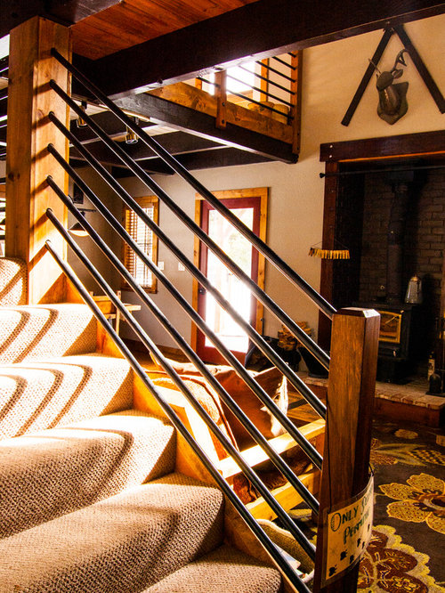 Example Of A Mid Sized Mountain Style Wooden Staircase Design In Sacramento