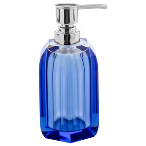 Crystal Glass Countertop Soap Dispenser, Blue