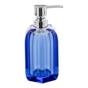 Crystal Glass Countertop Soap Dispenser, Blue
