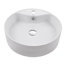Round Ceramic Bathroom Sink With Pop-Up Drain and Overflow, White, Chrome