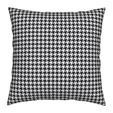The Houndstooth Check ~ Small Black Houndstooth Throw Pillow, Linen Cotton
