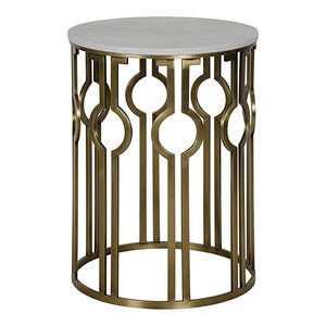 36 Round Coffee Table Metal Bass Antique Brass Finish White