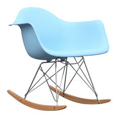 Fine Mod Imports Rocker Armchair, Light Blue