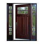 "Exterior Front Entry Wood Door M36 1D+2SL 12""-36""x80"", Right Hand Swing In"