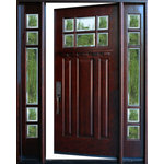"""BGW Doors - Exterior Front Entry Wood Door M36 1D+2SL 12""""-36""""x80"""", Right Hand Swing In - M36 Medium Walnut Door with sidelights. All glass is beveled, dual paned (insulated) and tempered. Door comes with jambs, threshold, hinges and is stained and finished in Medium Walnut. The size is 61 1/4""""; wide by 81""""; tall and the jamb is 5 1/4"""";. Entry hardware not included. This is a right hand swing in door."""