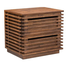 Transitional End Table Unique Slatted Construction With 2 Storage Drawers by Decorn