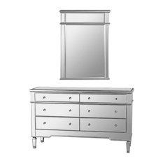 Nicolette Bedroom 6-Drawer Dresser Mirrored Finish With Mirror 2-Piece Set