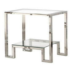 Silver With Glass Living Room End Table