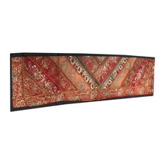 Mogul Interior - Consigned Vintage Sari India, Red and Orange Sequin Embroidered Tapestry - Table Runners