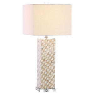 "Daniel Seashell and Crystal LED Table Lamp, Cream, 30.5"""