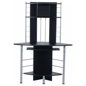 Elegant Desk, Steel Frame and MDF Top and Open Shelves, Modern Design, Black