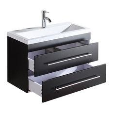 Emotion Mars 800 Bathroom Furniture, 80 cm, Black Semi-Gloss