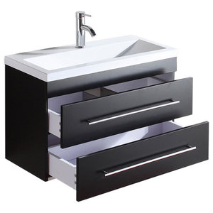 Emotion Mars 800 Bathroom Furniture, 80 cm, Black Semi-Gloss