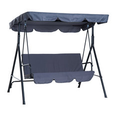 Outsunny 3-Person Porch Lawn Swing with Canopy Outdoor Glider Swing Chair, Grey