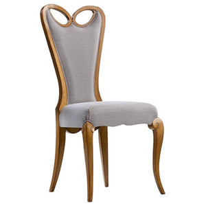 Classic Dining Chair With Grey Upholstery
