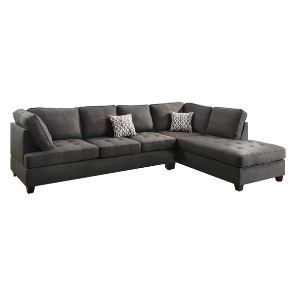 Gentil Sectional Sofa With Reversible Chaise, In Charcoal Gray And Black
