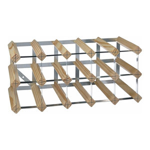 Contemporary 15 Bottle Wine Rack, Finished Pine Wood with Steel Frame, Natural