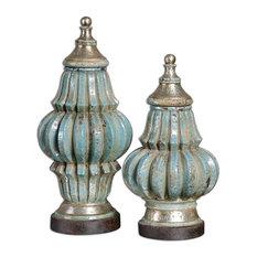 Uttermost Fatima Sky Blue Decorative Urns, Set of 2 19546